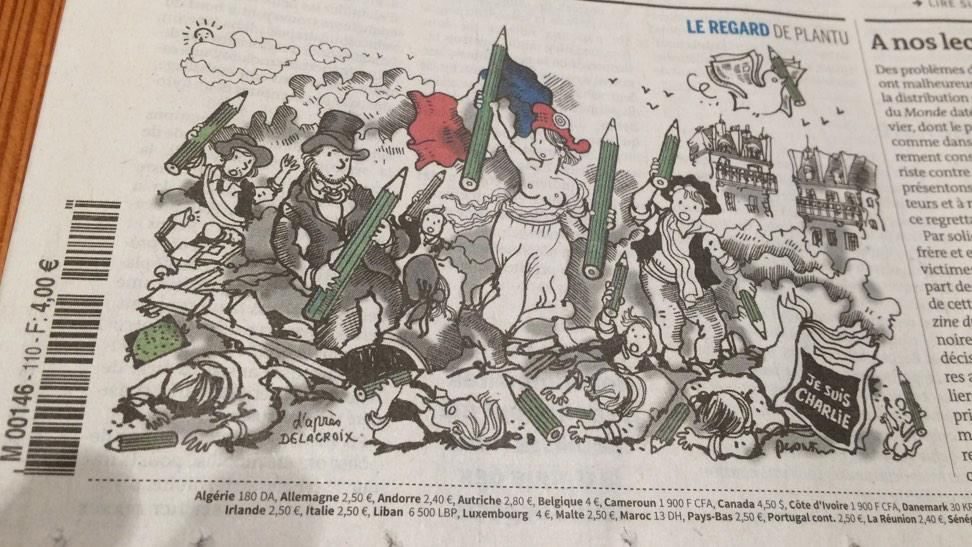 """Wonderful cartoon in Le Monde, drawing on Delacroix's classic """"Liberty Leading the People."""" #JeSuisCharlie http://t.co/wIAZnspHZn"""