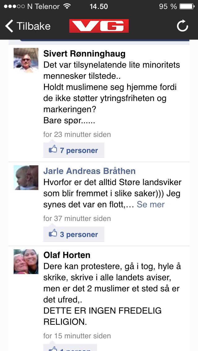 Slik ser kommentarfeltet til @vgnett ut akkurat nå, etter en sak om terrormarkeringen i Oslo i dag ... http://t.co/rd7Dj5gtLV