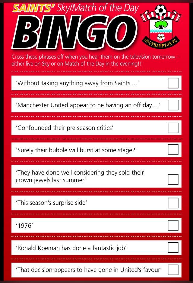 Not long until #saintsfc are on  @SkySports. Got your pundit cliche bingo card ready?  http://t.co/R7Lnvb7bWk http://t.co/tlk4yiJyDN