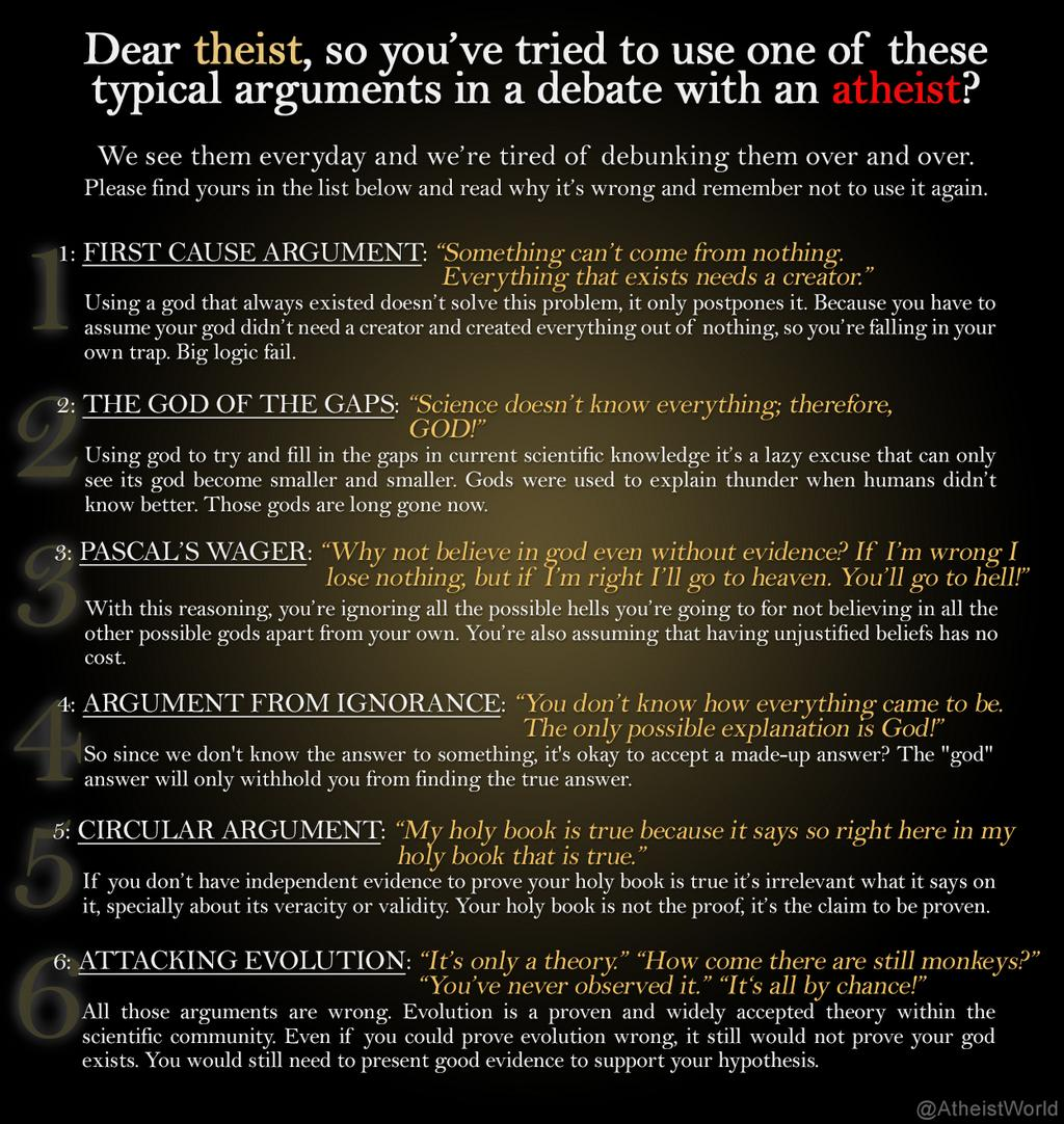 Falling Into Belief Gap What It Feels >> Atheist World On Twitter Some Of The Most Common Theist Arguments