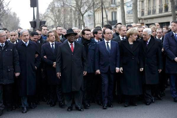 Natanyahu stands at the front line of a march against terrorism, How ironic! http://t.co/BWEYrptWCM