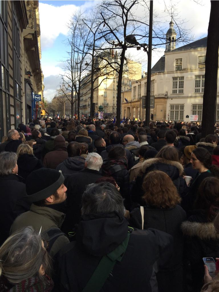 Not the march itself, but a small side street trying to get to the march! #JeSuisCharlie http://t.co/t00iwUiFlr