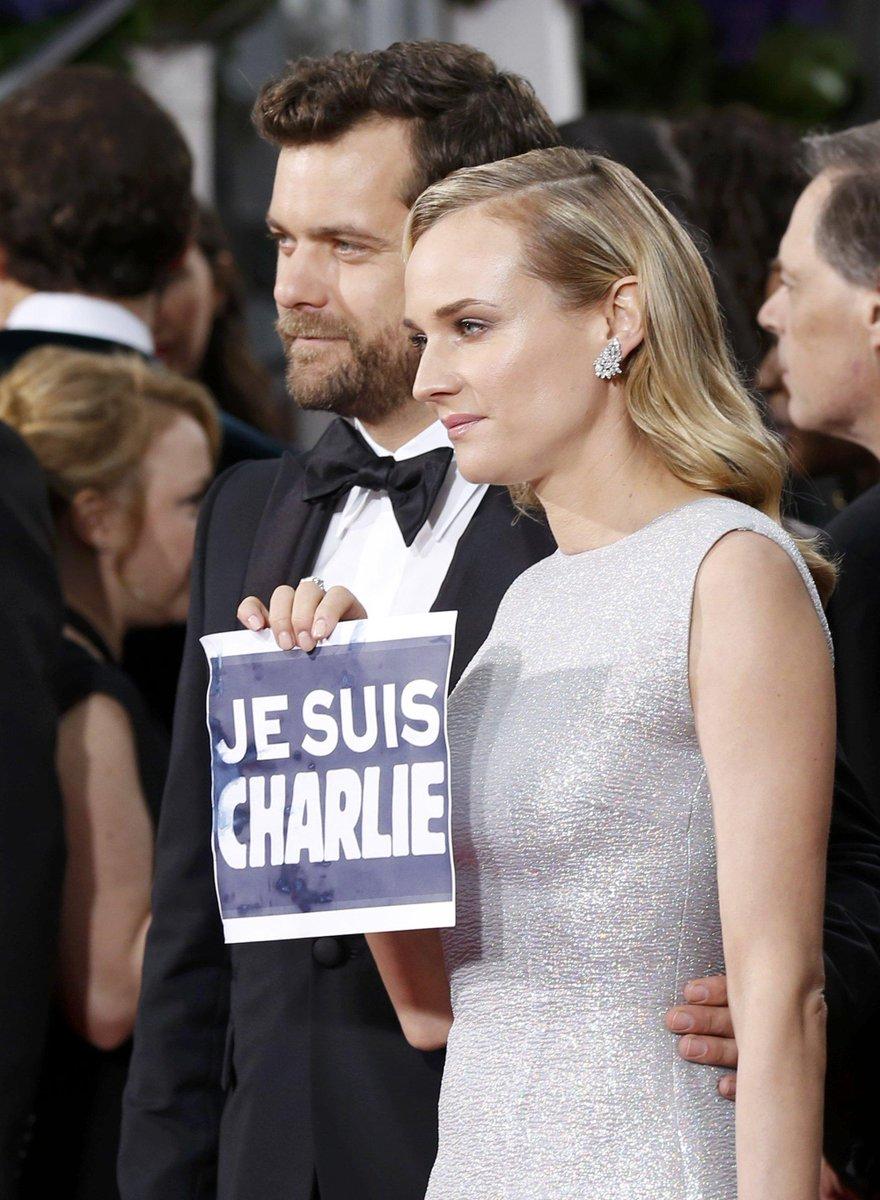 Diane Kruger con #JeSuisCharlie #GlobosdeOro http://t.co/xiU7xa7AUQ