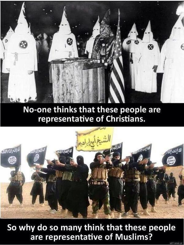 Nobody claims the KKK representative of christians, but why do people do that to muslims. http://t.co/qwBkwWwTVn