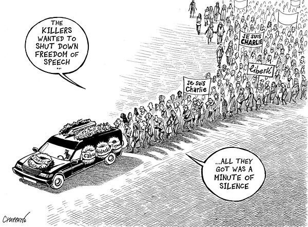 Mourning Charlie Hebdo - © Chappatte in NZZ am Sonntag http://t.co/9gQNmnEa6l