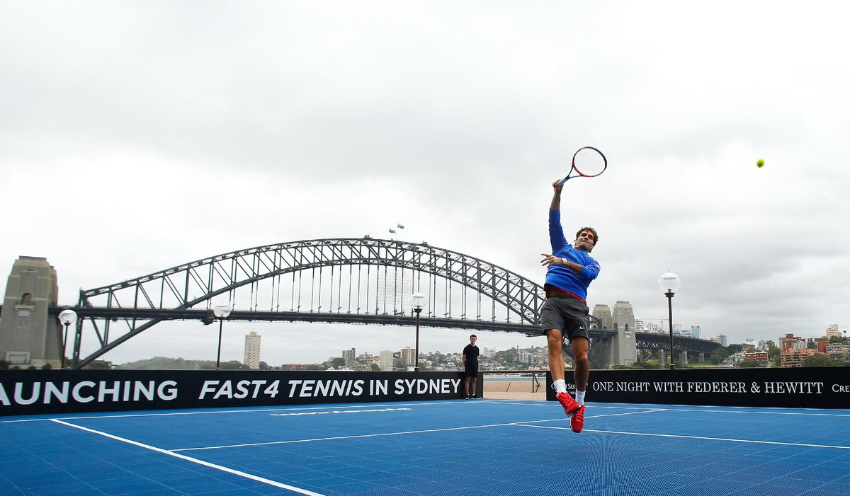 The #Roger1000 @rogerfederer in his element practising #fast4tennis moves at the Sydney Harbour Bridge today. http://t.co/v9NSqQ3tr8