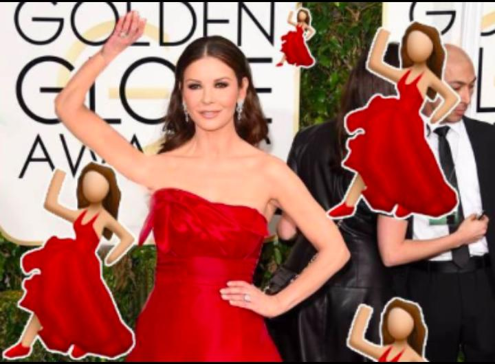 Immagine Catherine Zeta-Jones da emoticon WhatsApp al Golden Globes 2015