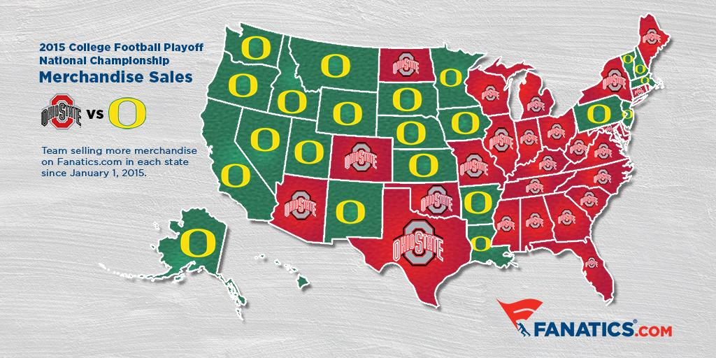 Map shows country split on Ohio State vs. Oregon