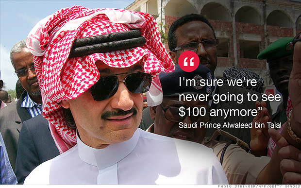 #Oil will never return to $100. At least that's what Saudi Prince Alwaleed says: http://t.co/zWtCQLCJng - @MattMEgan5 http://t.co/RIJJCYdh6H
