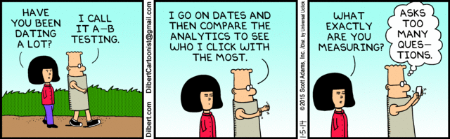 Dilbert on analytics of dating and A/B testing