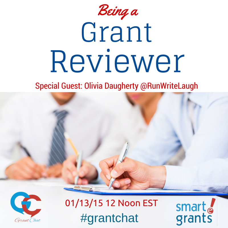 Join #Grantchat 01/09/2015 12 Noon ET Topi: Being a Grant Reviewer with guest @RunWriteLaugh http://t.co/RQqrR3wJ26 http://t.co/iIWhPO6FiF