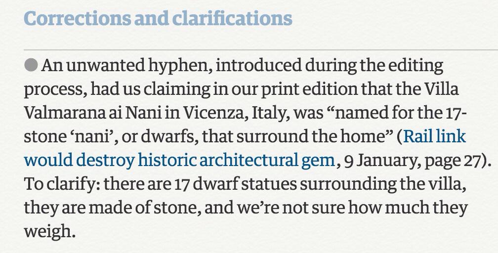 """RT @davidfuzzylime: Awesome correction in today's @guardian, to be filed under """"why hyphens are important"""" http://t.co/yqEJHSsf1J"""