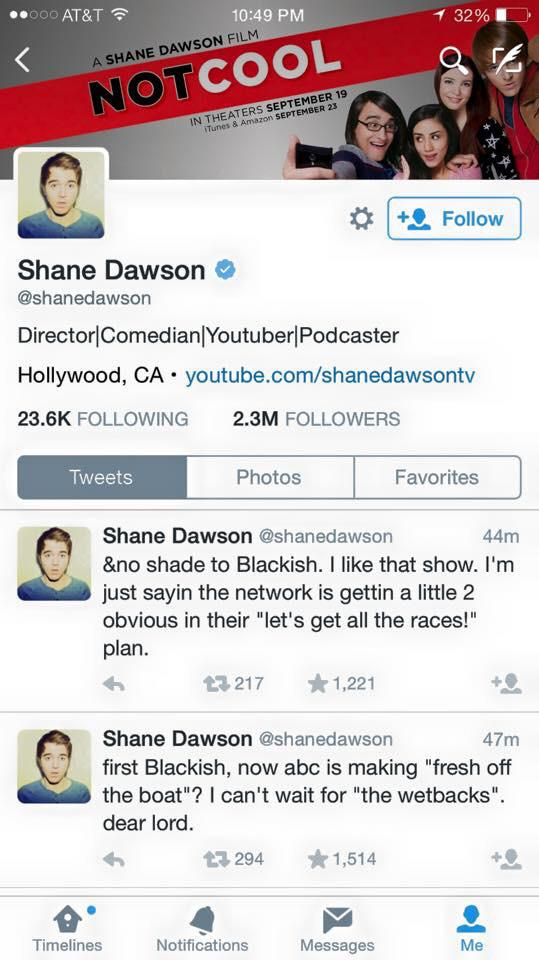 • @shanedawson sorry things getting too ethnic for your comfort level. don't have to embrace it, but get used to it. http://t.co/TuV7B8sfB1