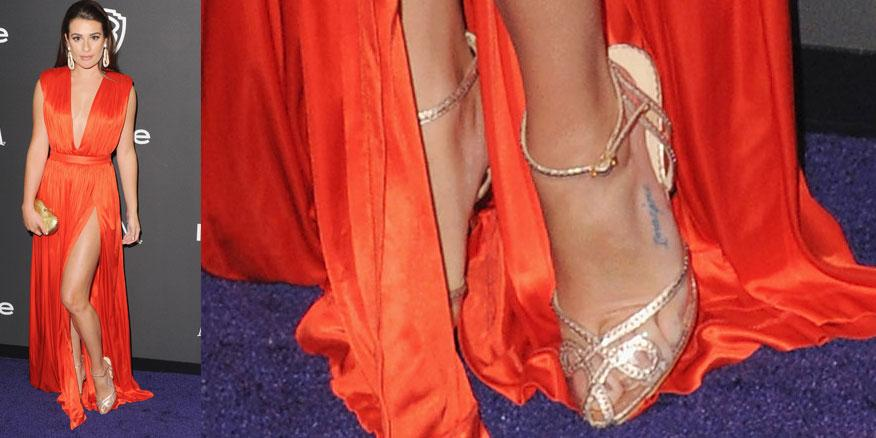 #shoeoftheday is @msleamichele - wearing #CharlotteOlympia to #GoldenGlobes after party http://t.co/C2fyD2ibap http://t.co/fG6UeTOIEk