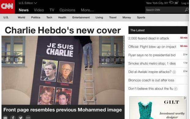 CNN cowards refuse to show new Charlie Hebdo cover