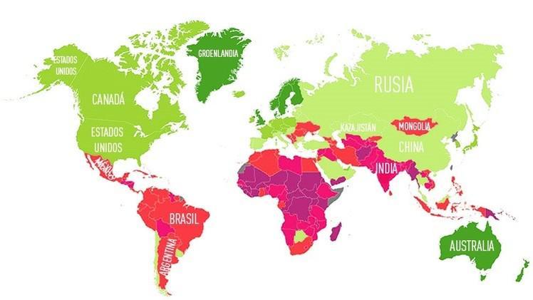 Mappa dei paesi nel mondo preparati a sopravvivere al cambio climatico
