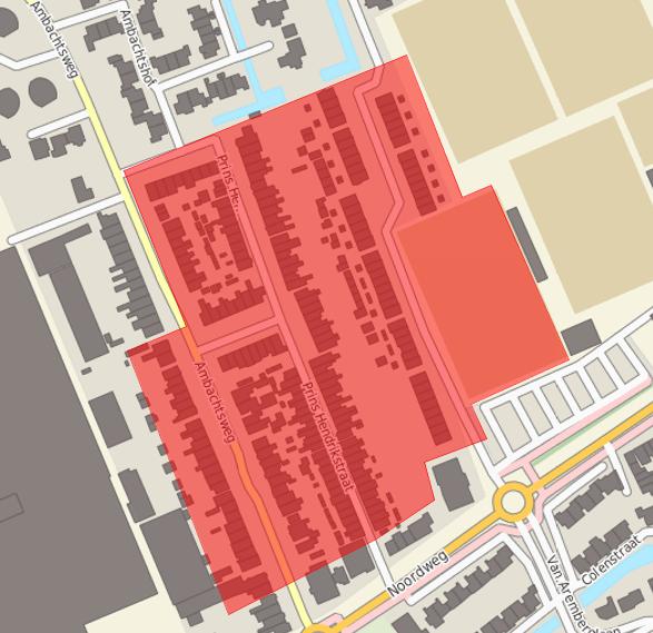 Op de afbeelding het gebied waar asbest aangetroffen is. Volg het liveblog op http://t.co/vz9C4F3nVF. http://t.co/8yihrDgyXo