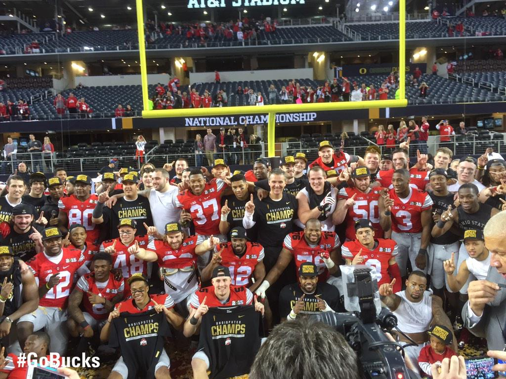 Your 2014 National Champions!  #Buckeyes M8ke History! #GoBucks http://t.co/ui2kY5ki3o