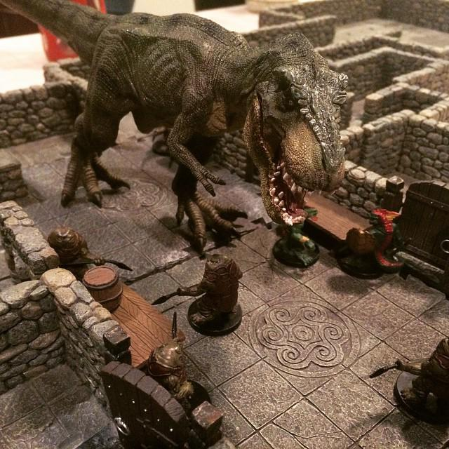 Our GM brought a dinosaur tonight—it might have attacked the monsters from Saturday's D&D game...! http://t.co/cULtoTf8uO
