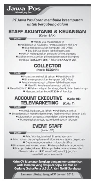 Pt Jawa Pos Koran On Twitter Lowongan Kerja Di Jawa Pos Staf Akuntansi Keuangan Collector Account Executive Telemarketing Event Staff Http T Co Kirthp8l6p