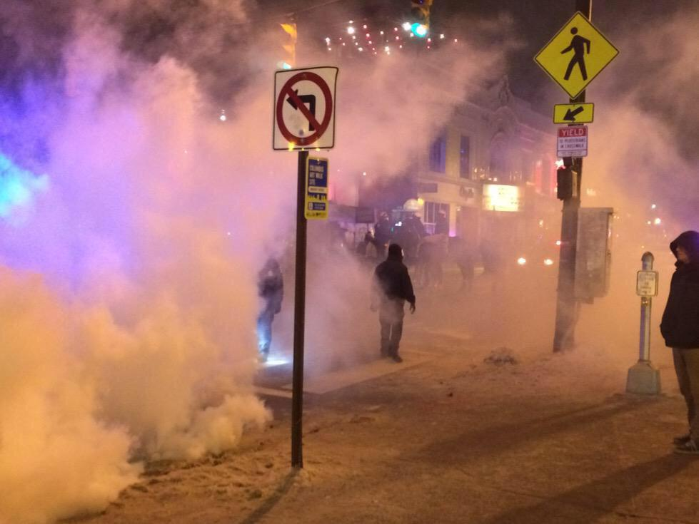 Tear gas on high street due to the cops trying to control the celebration lol. http://t.co/wMtuKJs3W7