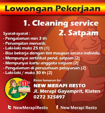 New Merapi Resto On Twitter Cleaning Service Satpam Lowker Jogja Solo Klaten Loker Solothok Kabarklaten Jogjalowker Http T Co Qhgragboy8