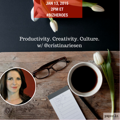 We're looking forward to today's #BizHeroes about #productivity & you should, too! Join @cristinariesen + us! :) http://t.co/CPylsTWyWy
