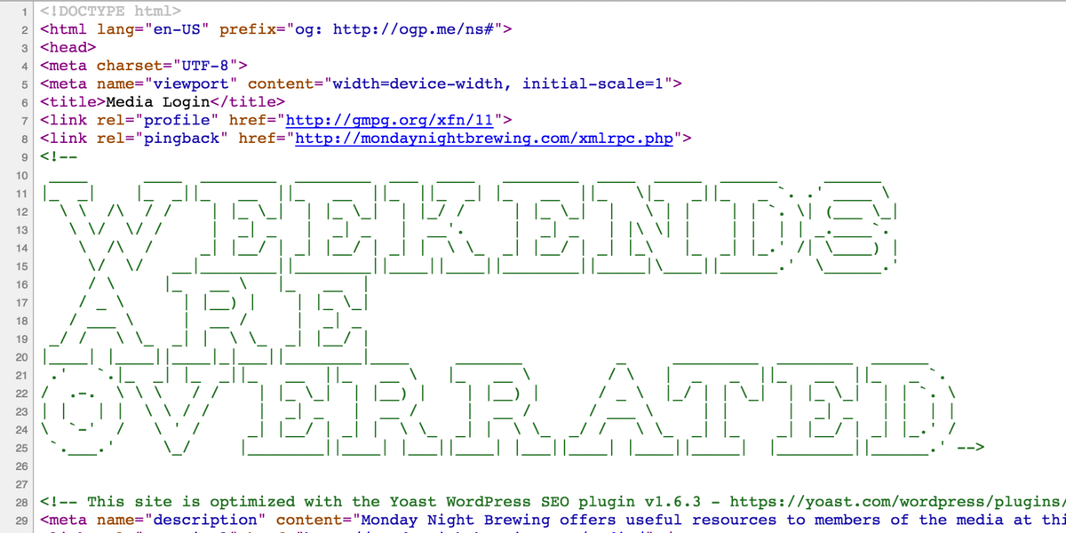 Oh @MondayNight you really do get me. #ViewSource #Html #CraftBeer http://t.co/oas1QhYFhd