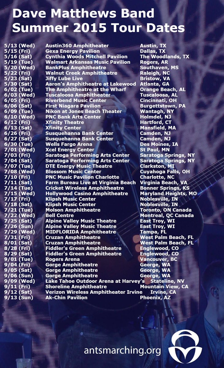 Dave Matthews Band - 2015 Summer Tour Dates!   Summer Planning Starts Now! http://t.co/zxXwDfaJl2