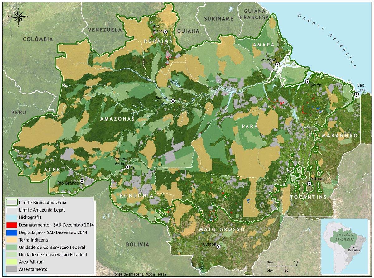 Mapa de desmatamento na Amazônia