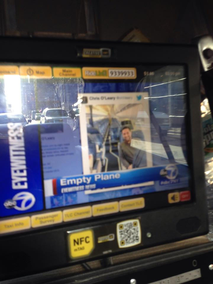 No one can escape my media presence today, apparently. This is a pic from a friend in an NYC cab. http://t.co/FHERbUEX3c