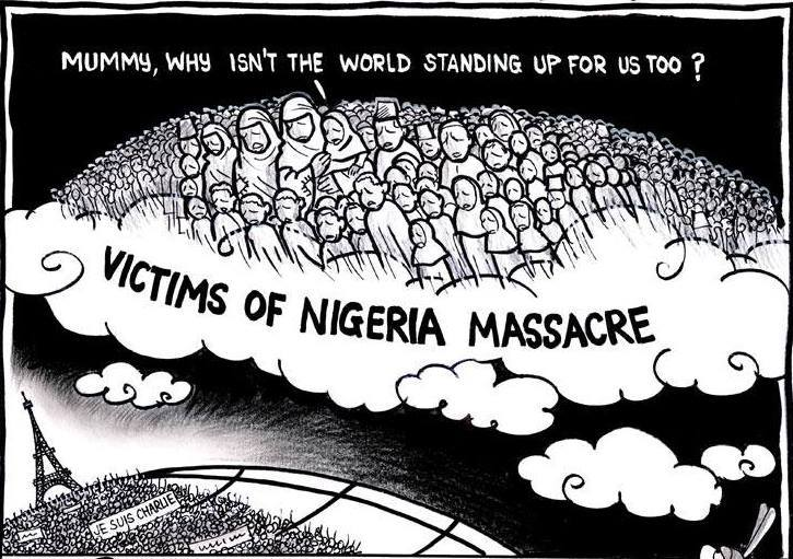 """Mummy why isn't the world standing up 4 us 2?"" RE: Boko Haram's 'deadliest massacre': 2,000 feared dead in Nigeria http://t.co/WNYQEhSK5X"