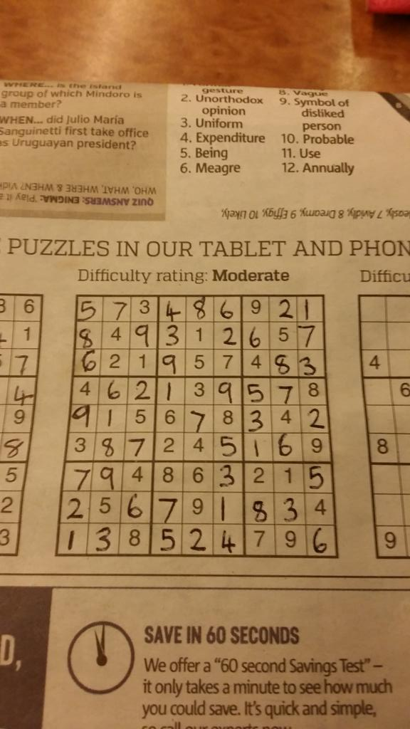 Taking my time this morn Mr Sudoku #nopencil #norubbingout... By hell, I got some good tunes on my ipod today x http://t.co/QAj6AkhOMH