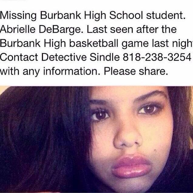 MISSING PERSON: Chico DeBarge's 15-yr-old daughter Abrielle DeBarge missing. Amber Alert issued. Call 818-238-3254 http://t.co/si7qWUhNzn