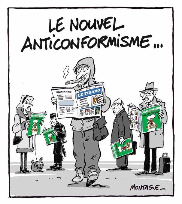 Le nouvel anticonformisme dans la lecture des journaux. Dessin génial de @yvesmontagne http://t.co/gjHpx988C6