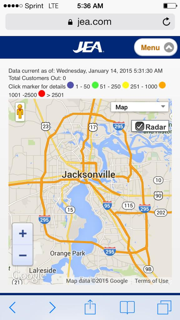 Power Outage Map Jea.Jessie Mcdonough على تويتر Jea Still Reporting No Power Outages