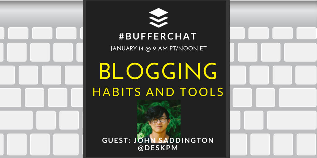 One hour to go until #bufferchat with @DeskPM! Join us to chat about blogging habits and tools! http://t.co/Gy9WSCVBfB