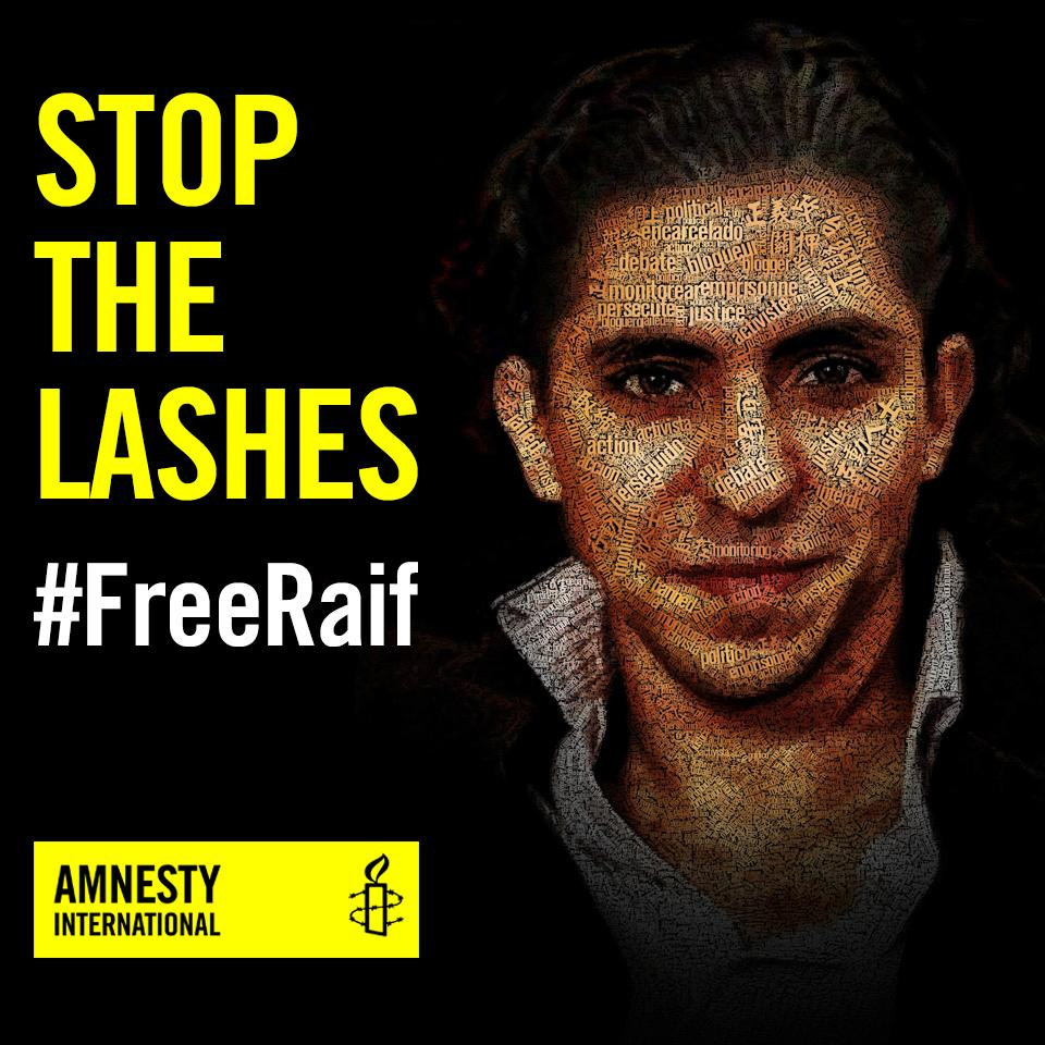 #Saudi Arabia are set to resume the flogging of Raif Badawi this Friday.  Blogging is not a crime. #FreeRaif http://t.co/68yu7h0kGT