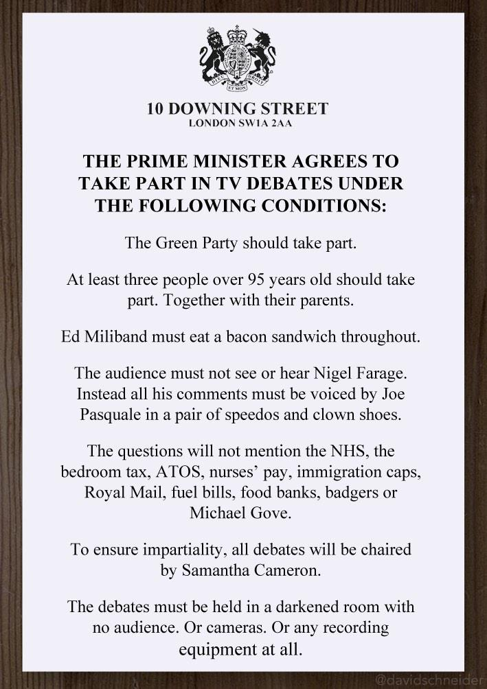 Cameron's conditions for taking part in TV debates revealed. http://t.co/Frn4xy1ahI