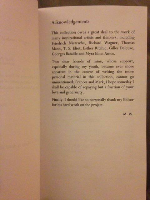 Acknowledgement page! Nietzsche at number one, Wagner at two. I'm sensing the direction this is headed. http://t.co/fol9gx7PtQ