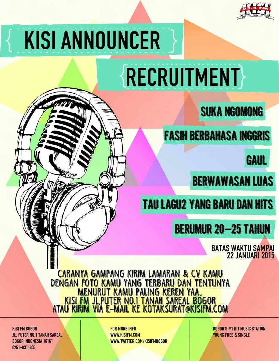 Ig Kisifmbogor On Twitter Kisi Announcer Recruitment