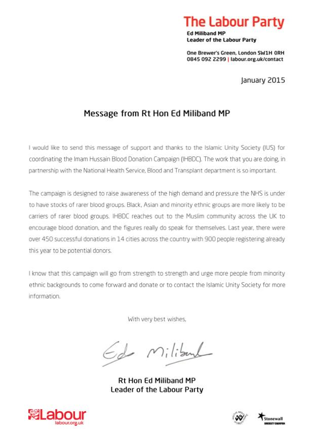 Imam hussain bdc on twitter thank you edmiliband for your letter imam hussain bdc on twitter thank you edmiliband for your letter supporting our blood donation campaign with givebloodnhs giveback giveblood expocarfo