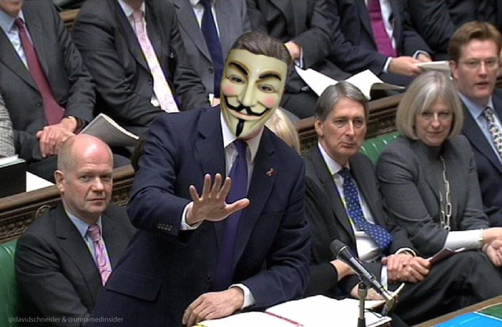 Judging from his appearance in Parliament, Cameron's really loving this whole government hacking our emails thing. http://t.co/hTjyhqMFwZ