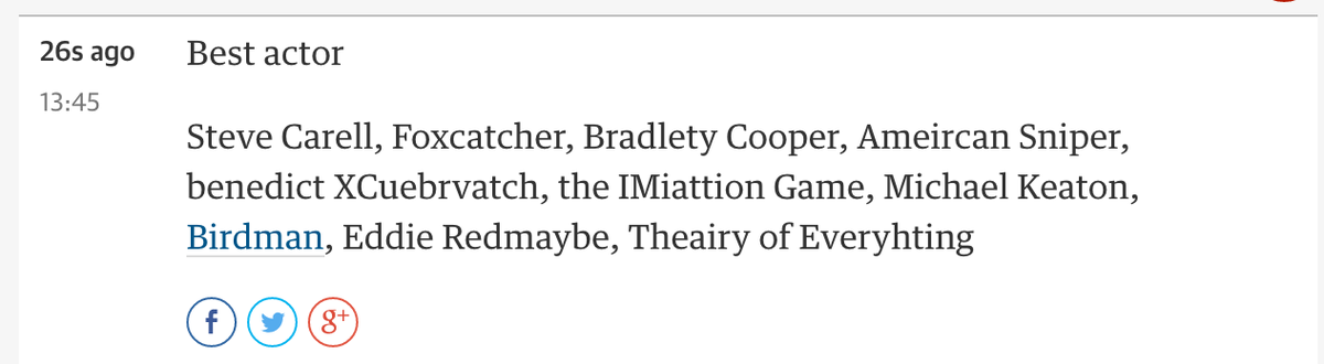 Guardian would like to wish Bradlety Cooper, benedict XCuebrvatch… and best of all 'Eddie Redmaybe' all the best. http://t.co/A2lSZEpoq0