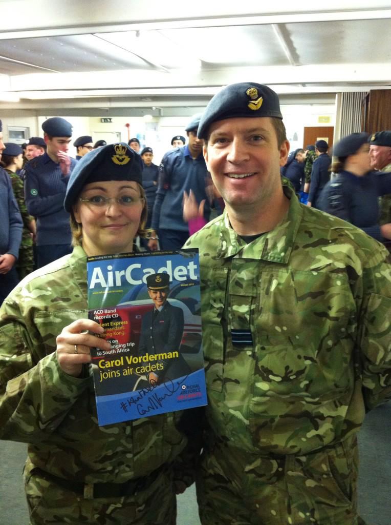 """Morning lovely ACO RT @ComdtSO: Pic with OC 5F Northampton Sqn after @ComdtAC presented Mag signed by @carolvorders http://t.co/3ccZo1btmh"""""""