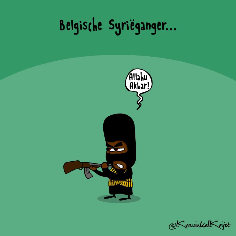 Eens zien wie bozer wordt... De Belgen of de Syriegangers... #cartoon  http://t.co/GQbdkjk6I0 http://t.co/BMhT8PCThn