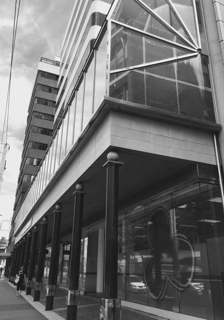 Playful capitals and a first-floor conservatory enliven a sleek office block, Willis St. #athwalk http://t.co/H2rEIuMosl