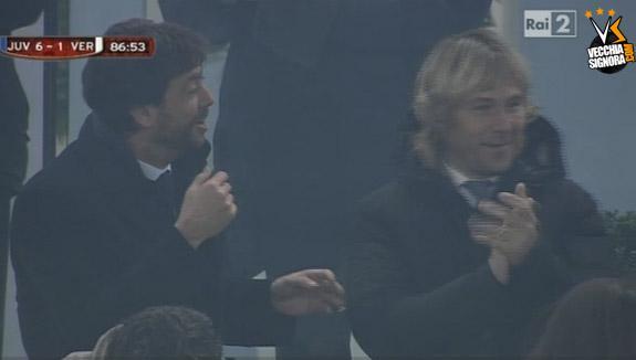 La reazione di Agnelli e Nedved al stupendo gol di Coman in Juventus-Verona 6-1 di Coppa Italia