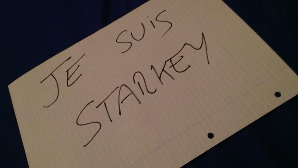 """UPDATE: """"STARKEY"""", FEELING PERSECUTED BY THE PANEL, HAS CREATED A BANNER TO EXPRESS SOLIDARITY WITH HIMSELF. #BBCQT http://t.co/pEnRvzzqmL"""