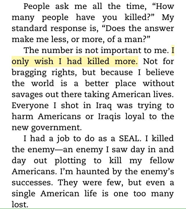 """I only wish I had killed more....the world is a better place w/out savages..."" - Chris Kyle #AmericanSniper http://t.co/W8eM9kRQk4"